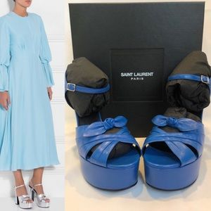 SAINT LAURENT PLATFORM SANDAL BLUE LEATHER 9